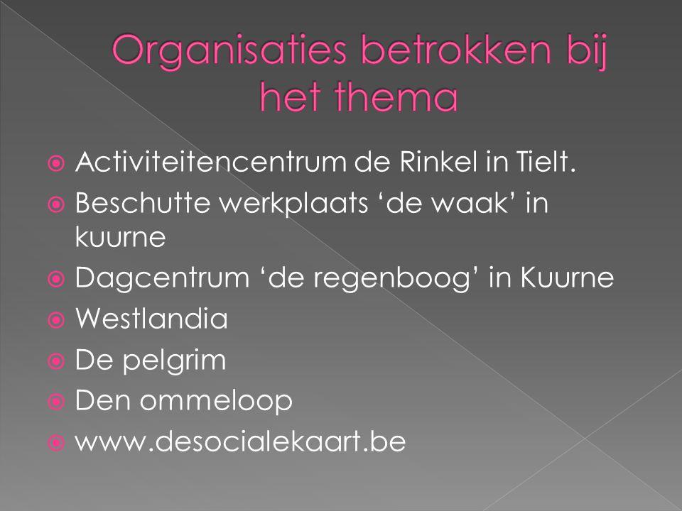 Organisaties betrokken bij het thema