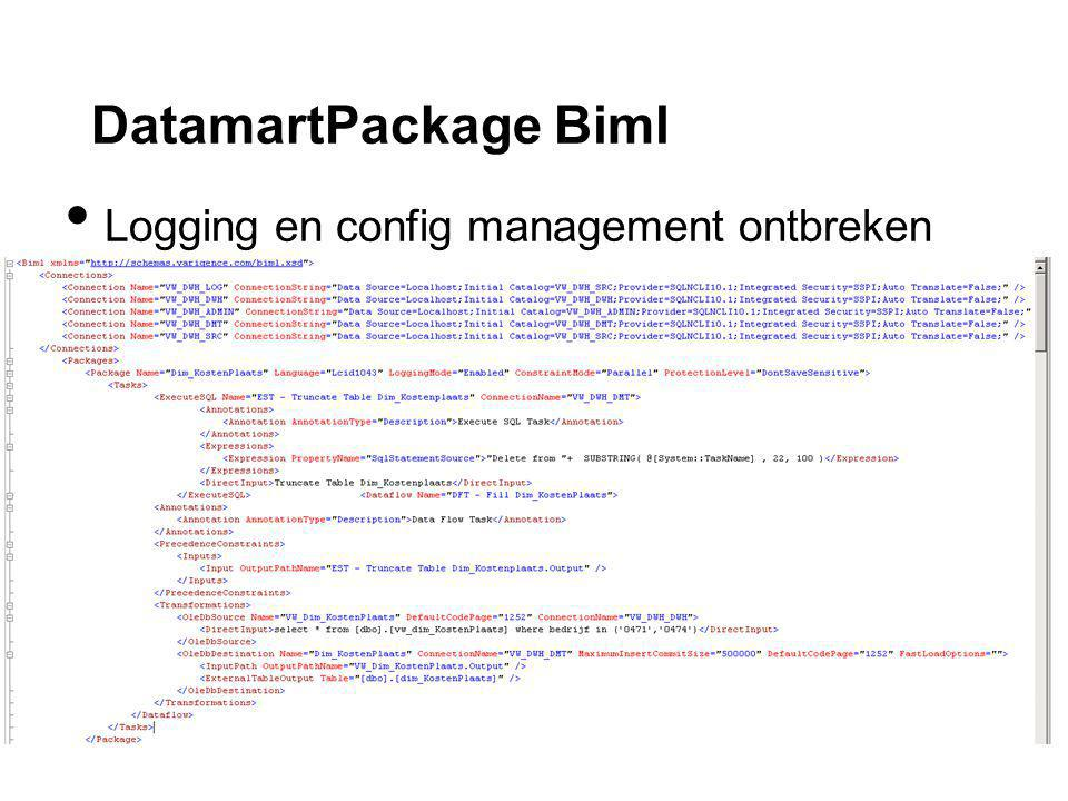 DatamartPackage Biml Logging en config management ontbreken