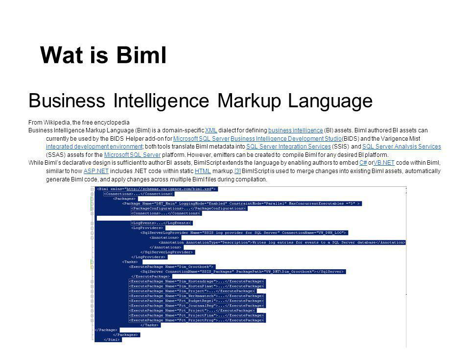 Wat is Biml Business Intelligence Markup Language