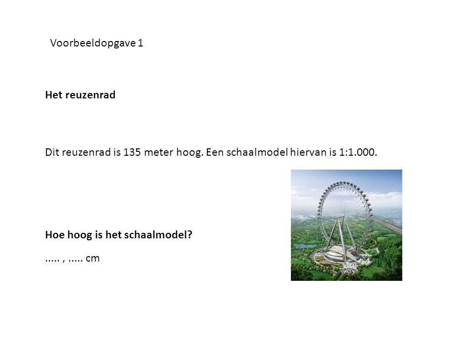Voorbeeldopgave 1 Het reuzenrad Dit reuzenrad is 135 meter hoog. Een schaalmodel hiervan is 1:1.000.