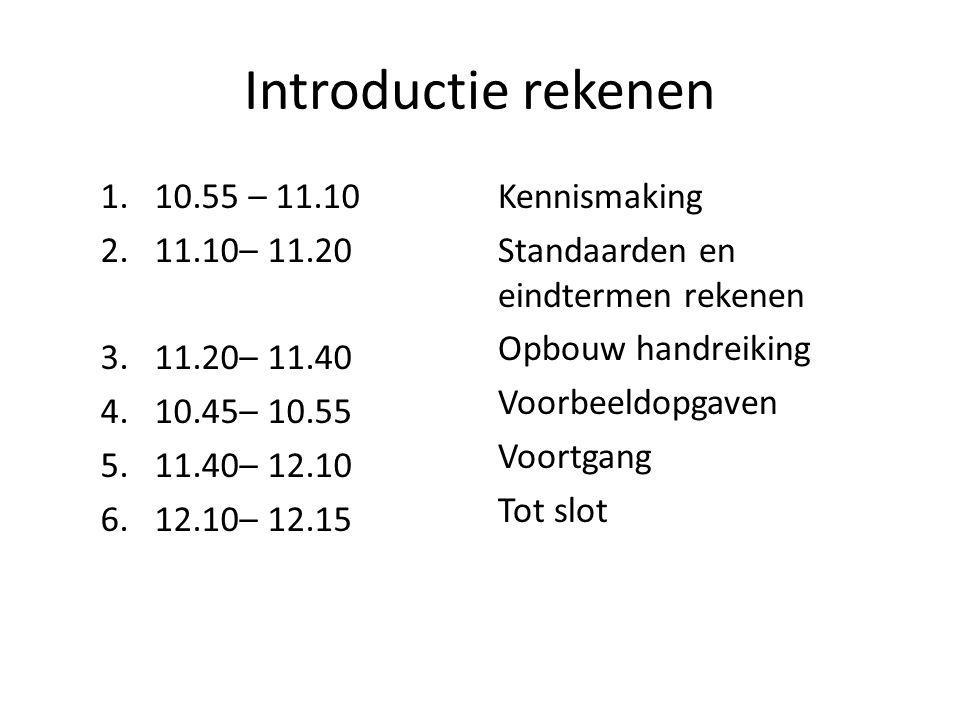 Introductie rekenen 10.55 – 11.10 11.10– 11.20 3. 11.20– 11.40