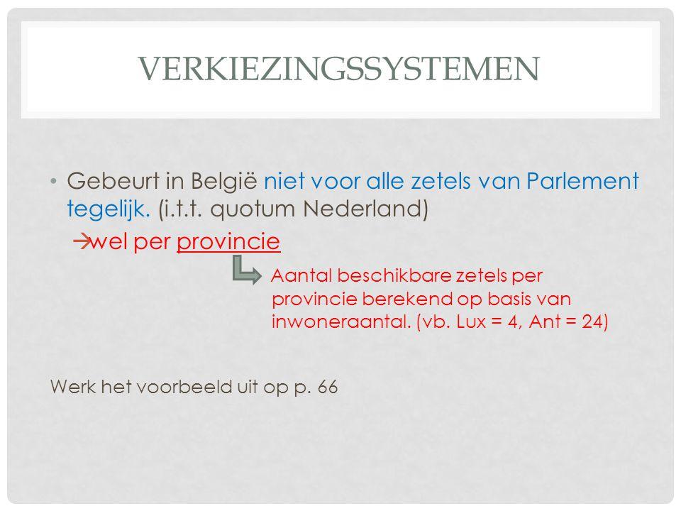 Verkiezingssystemen Gebeurt in België niet voor alle zetels van Parlement tegelijk. (i.t.t. quotum Nederland)
