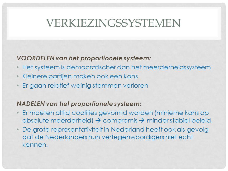 Verkiezingssystemen VOORDELEN van het proportionele systeem: