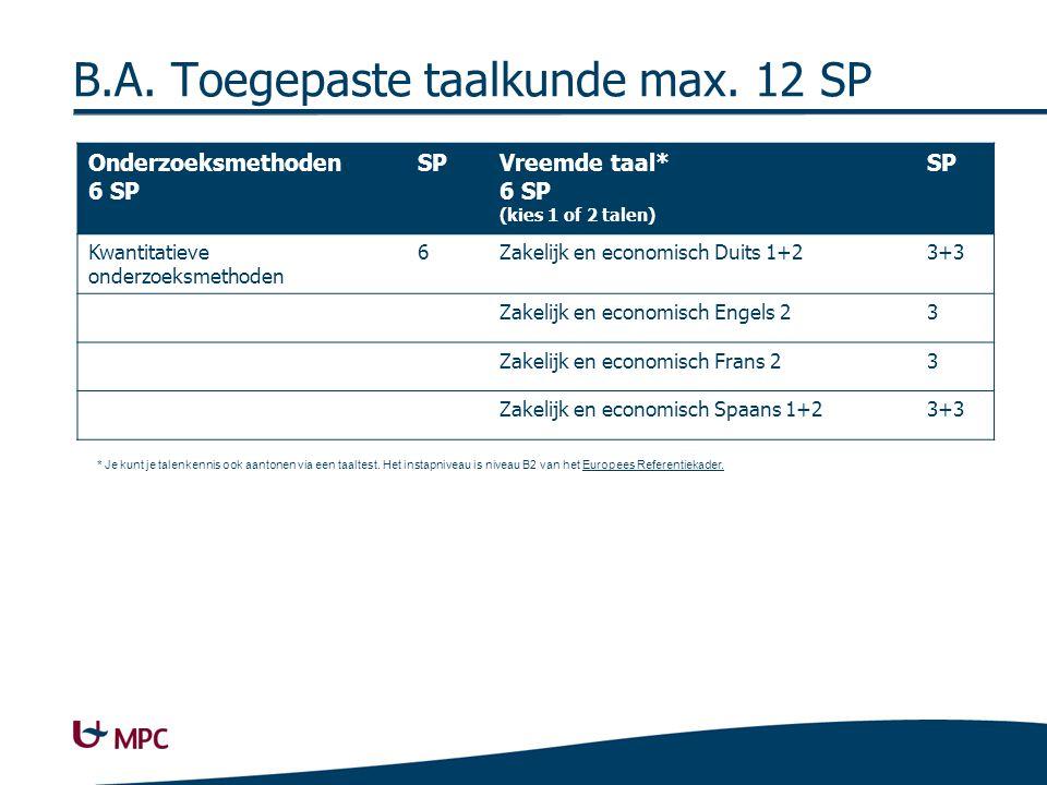 B.A. Handelswetenschappen max. 15 SP