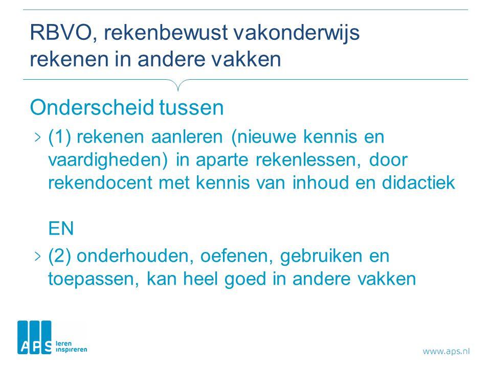 RBVO, rekenbewust vakonderwijs rekenen in andere vakken