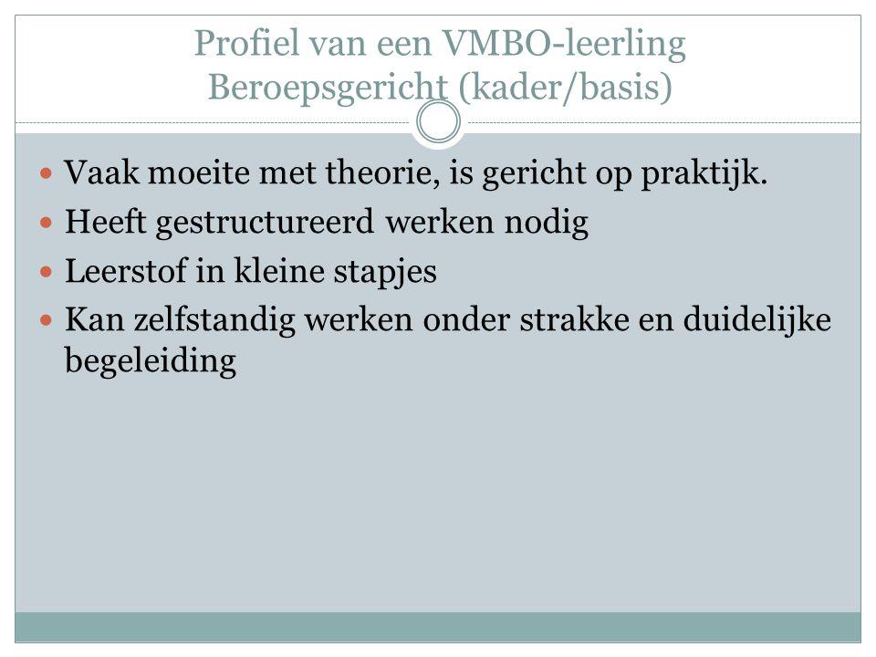 Profiel van een VMBO-leerling Beroepsgericht (kader/basis)