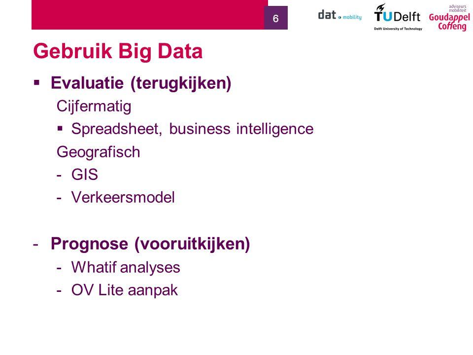 Gebruik Big Data Evaluatie (terugkijken) Prognose (vooruitkijken)