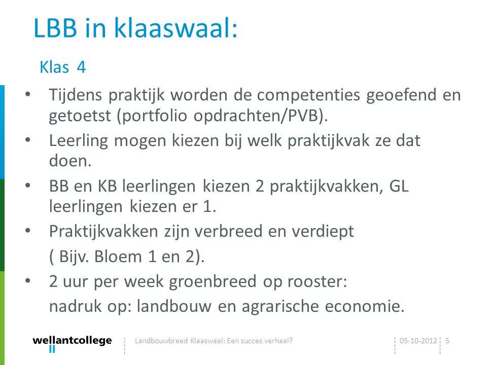 LBB in klaaswaal: Klas 4 Tijdens praktijk worden de competenties geoefend en getoetst (portfolio opdrachten/PVB).
