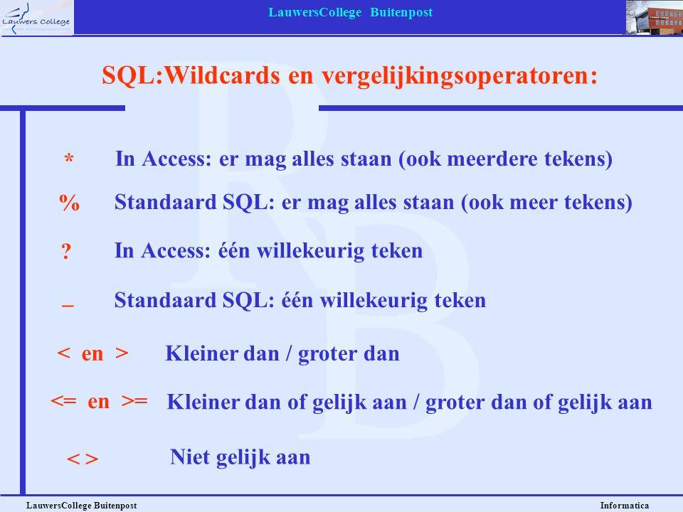 SQL:Wildcards en vergelijkingsoperatoren:
