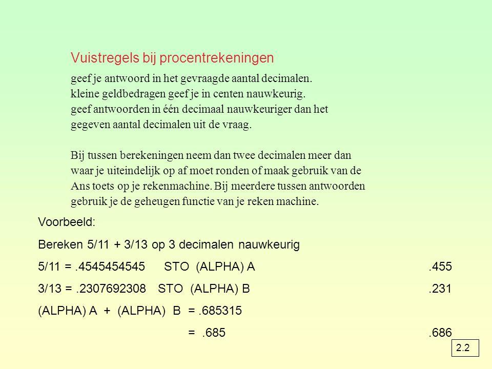 Vuistregels bij procentrekeningen