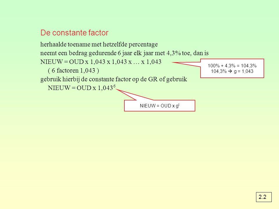 De constante factor herhaalde toename met hetzelfde percentage