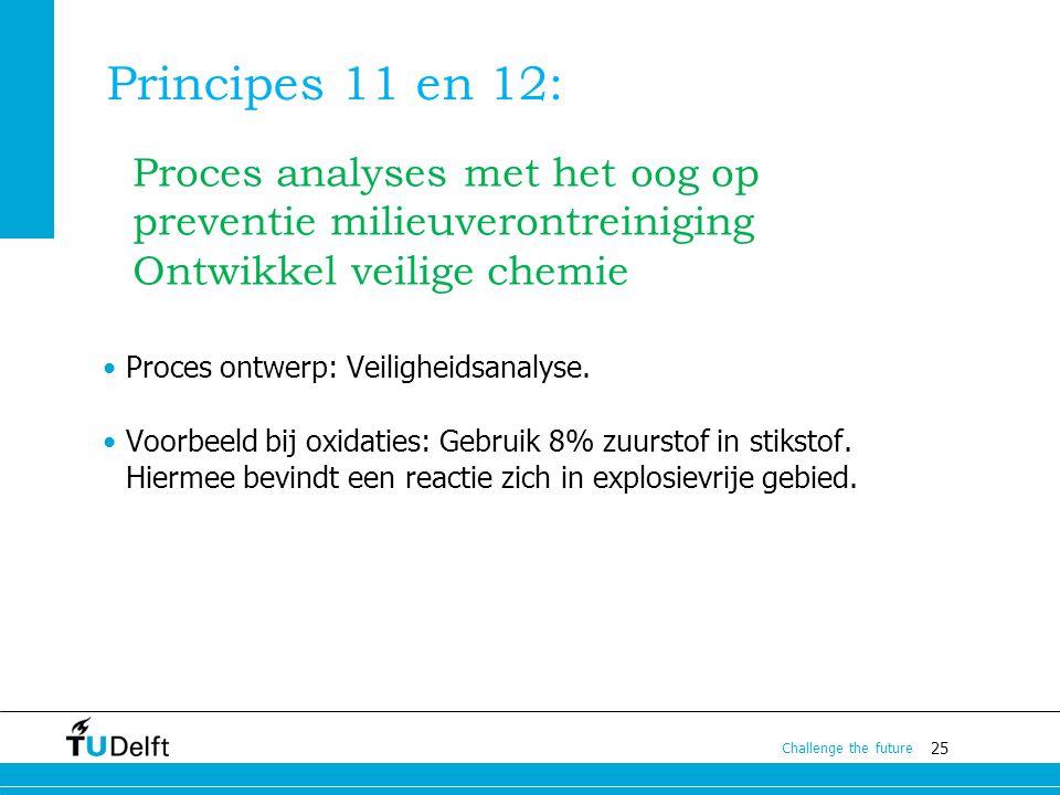 Principes 11 en 12: Proces analyses met het oog op preventie milieuverontreiniging. Ontwikkel veilige chemie.
