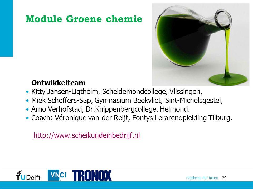 Module Groene chemie Ontwikkelteam