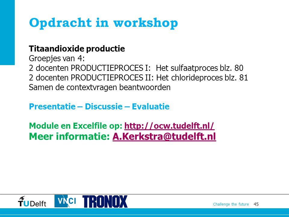 Opdracht in workshop Meer informatie: A.Kerkstra@tudelft.nl