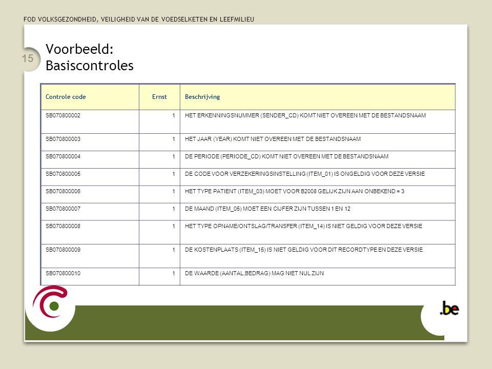 Voorbeeld: Basiscontroles