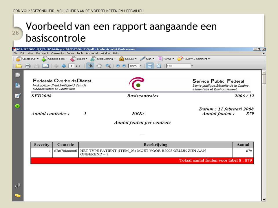 Voorbeeld van een rapport aangaande een basiscontrole