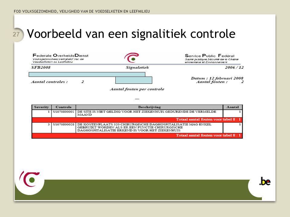 Voorbeeld van een signalitiek controle