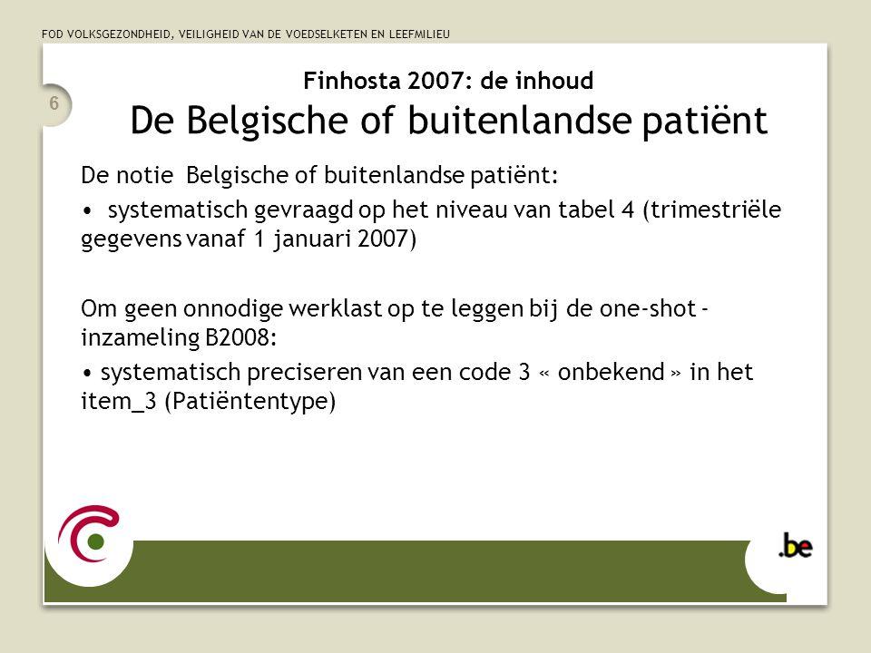 Finhosta 2007: de inhoud De Belgische of buitenlandse patiënt