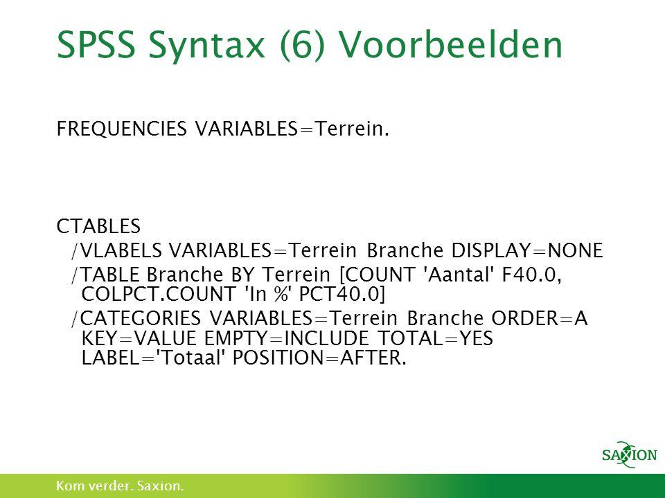 SPSS Syntax (6) Voorbeelden
