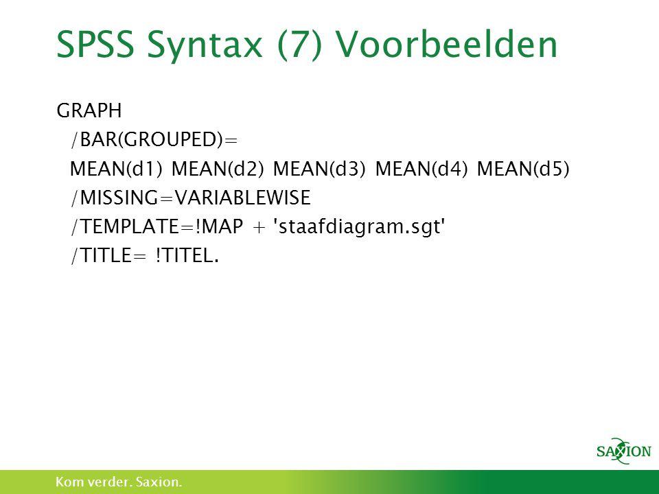 SPSS Syntax (7) Voorbeelden