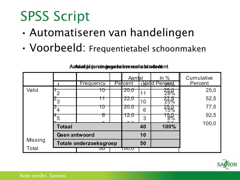 SPSS Script Automatiseren van handelingen