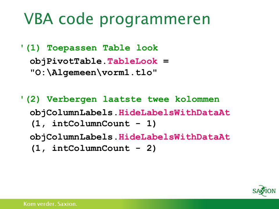 VBA code programmeren (1) Toepassen Table look