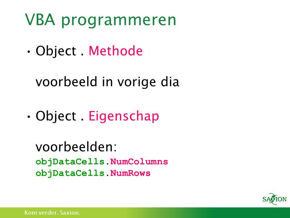 VBA programmeren Object . Methode voorbeeld in vorige dia