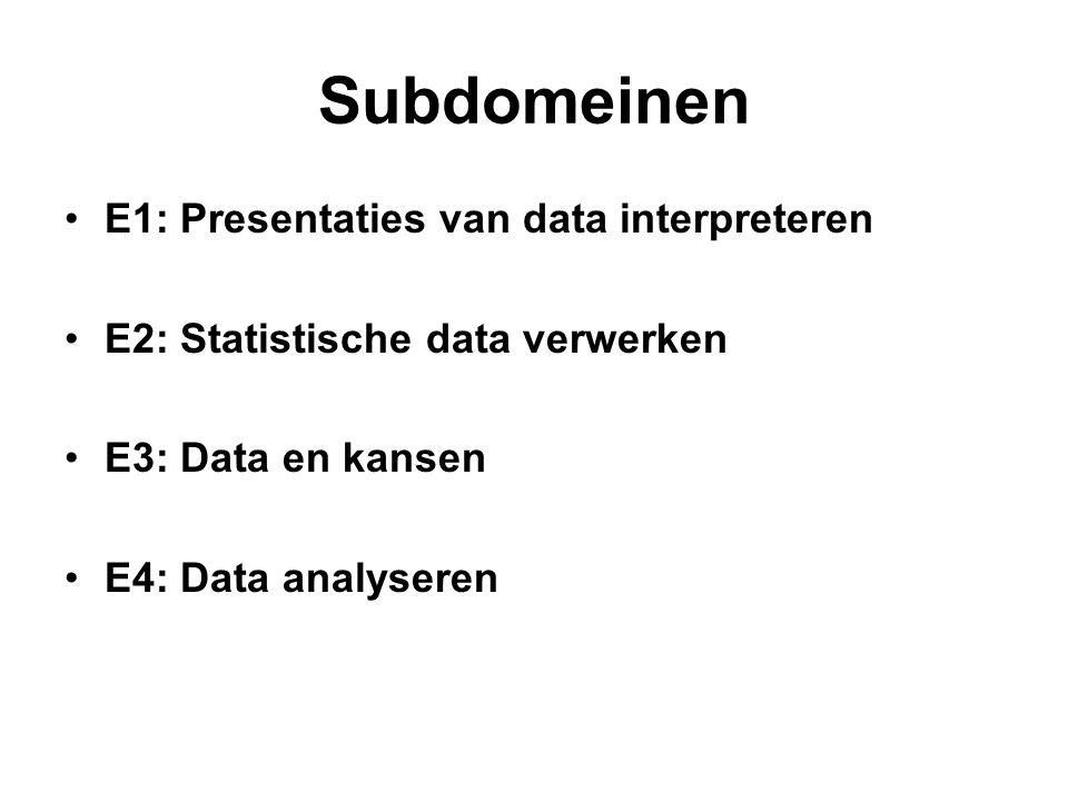 Subdomeinen E1: Presentaties van data interpreteren