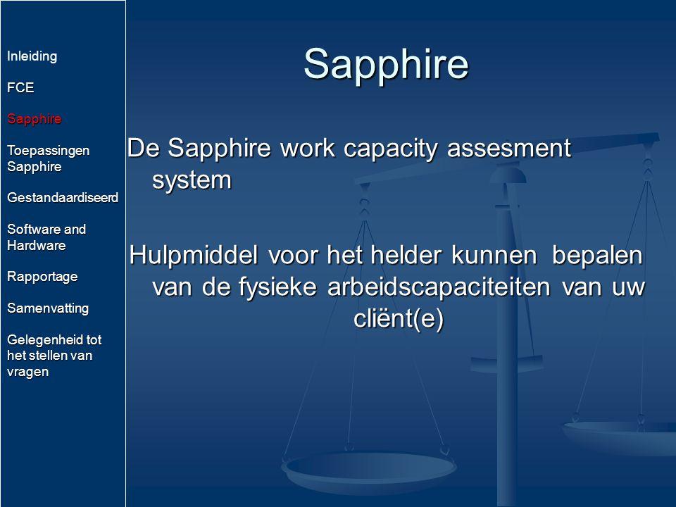Sapphire De Sapphire work capacity assesment system