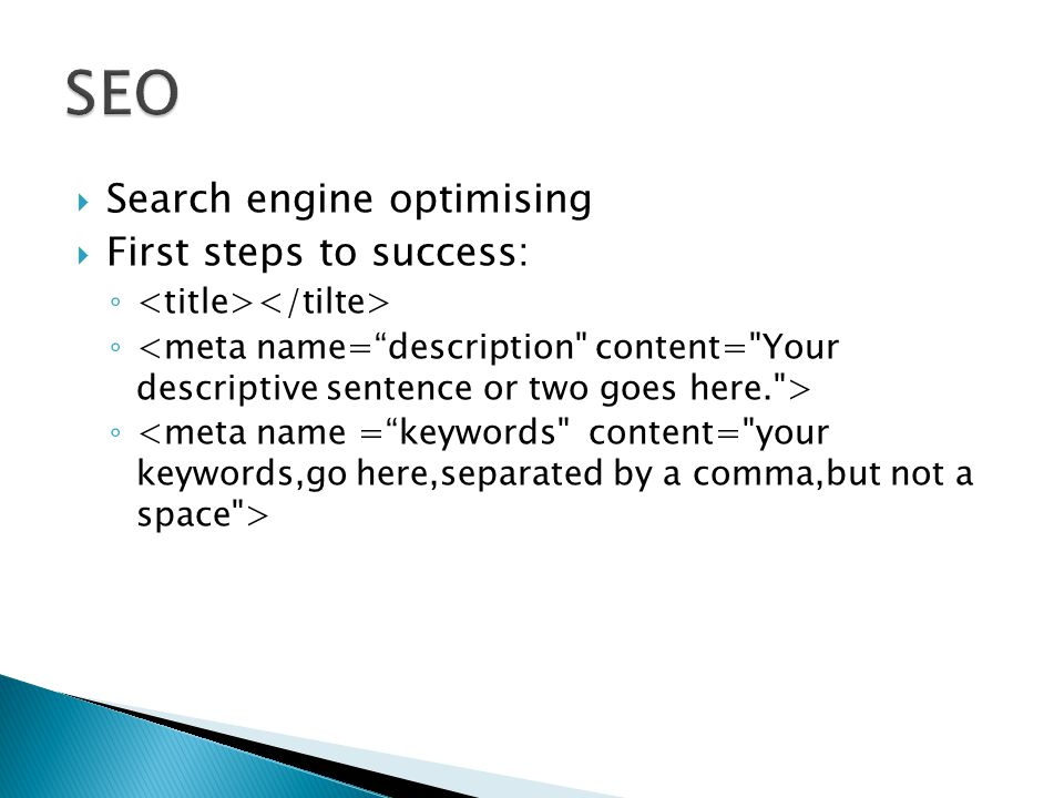 SEO Search engine optimising First steps to success: