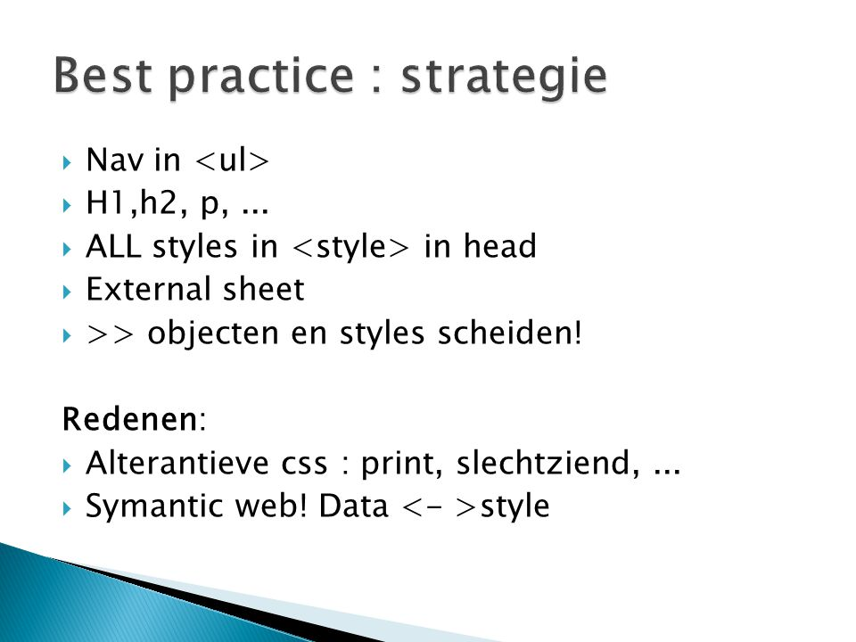 Best practice : strategie