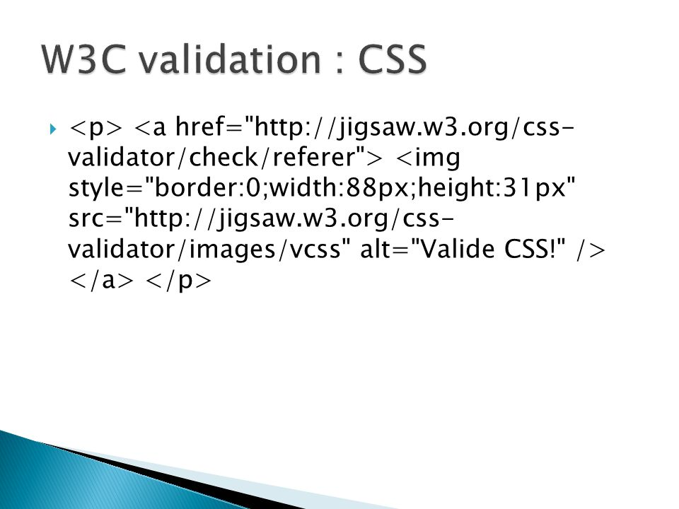 W3C validation : CSS