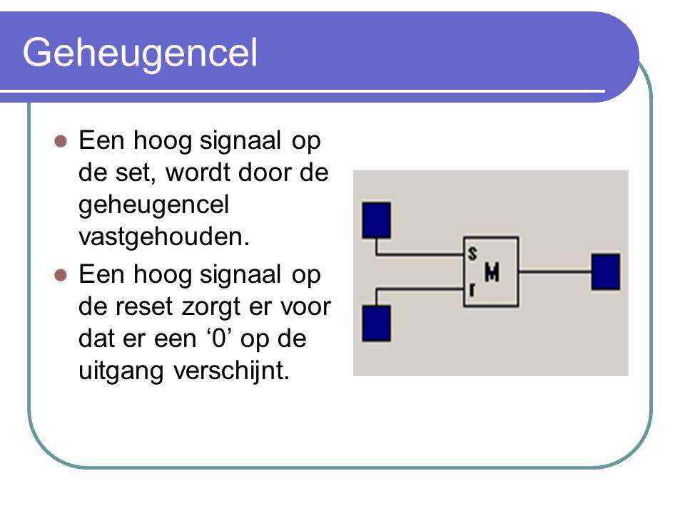 Geheugencel Een hoog signaal op de set, wordt door de geheugencel vastgehouden.