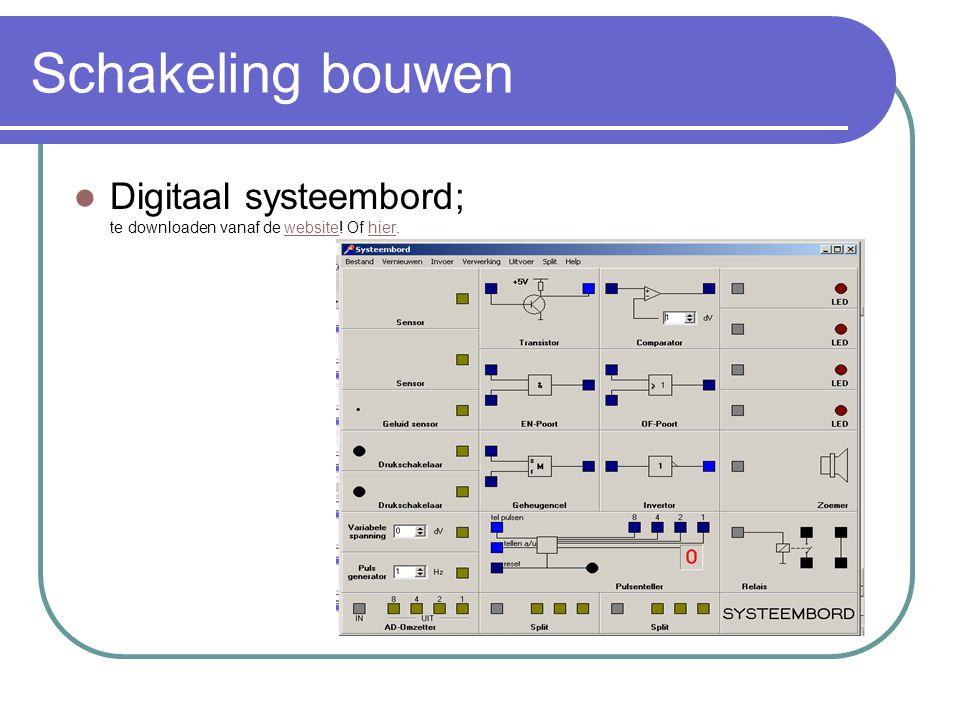 Schakeling bouwen Digitaal systeembord; te downloaden vanaf de website! Of hier.
