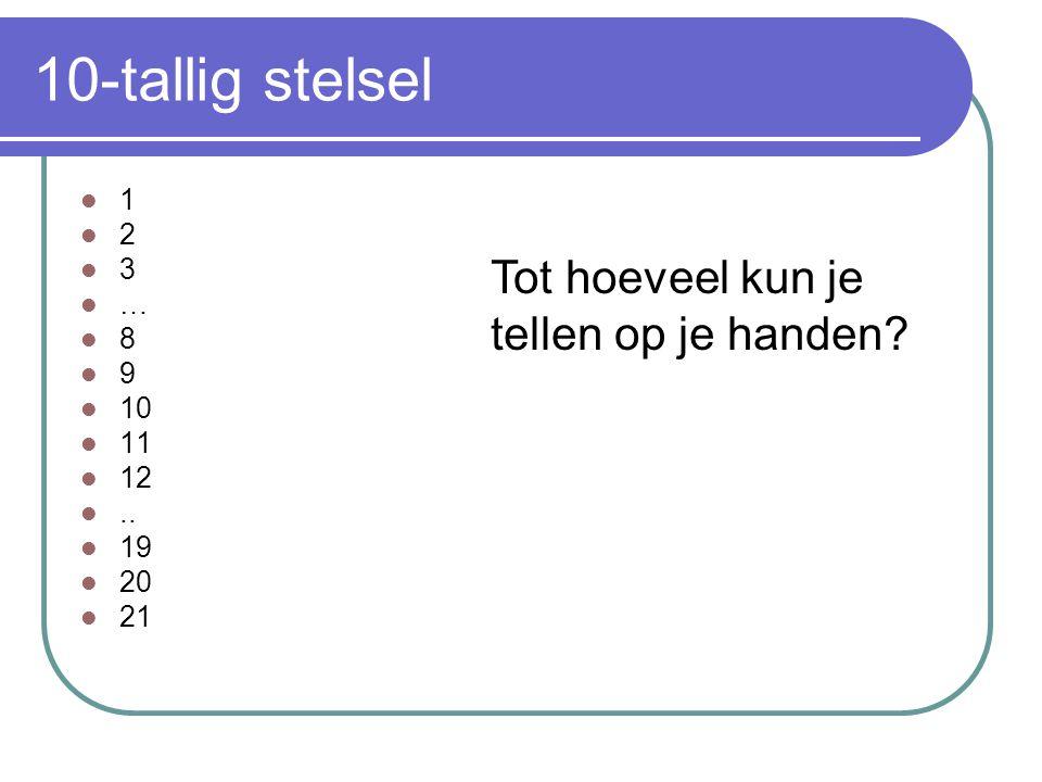 10-tallig stelsel Tot hoeveel kun je tellen op je handen 1 2 3 … 8 9