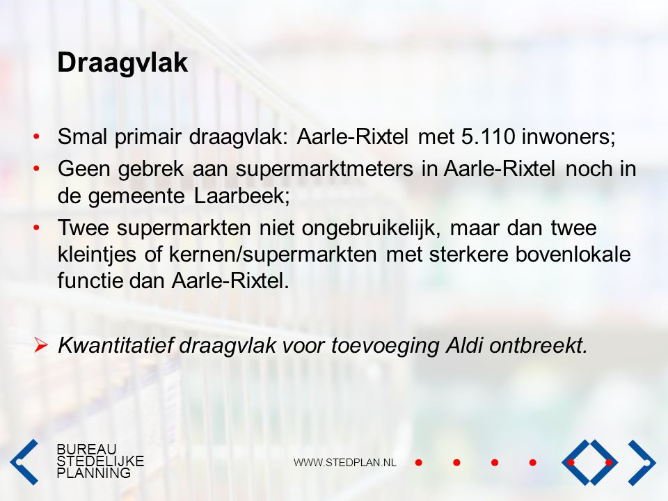 Draagvlak Smal primair draagvlak: Aarle-Rixtel met 5.110 inwoners;
