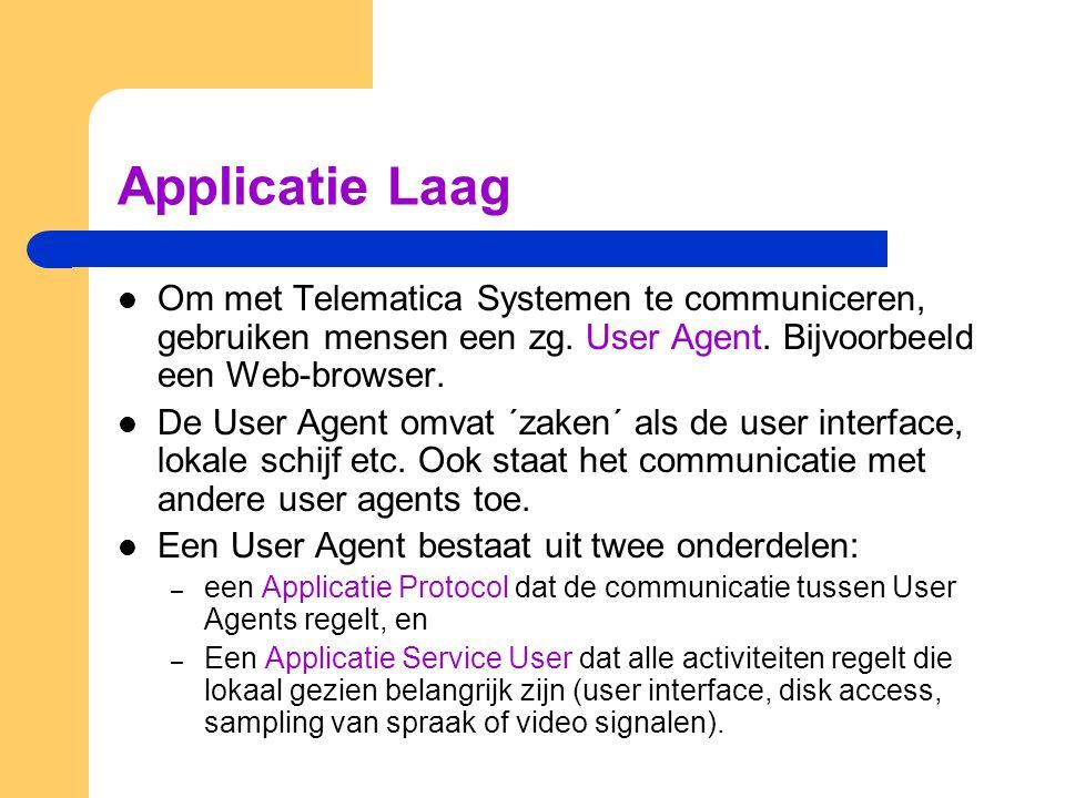 Applicatie Laag Om met Telematica Systemen te communiceren, gebruiken mensen een zg. User Agent. Bijvoorbeeld een Web-browser.