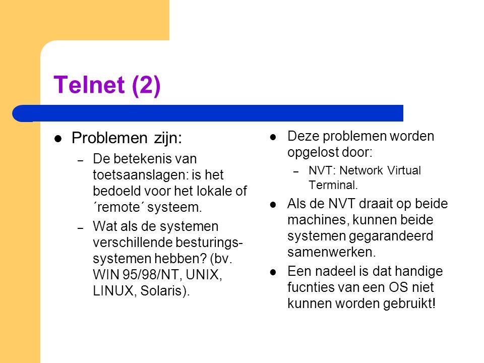 Telnet (2) Problemen zijn: Deze problemen worden opgelost door: