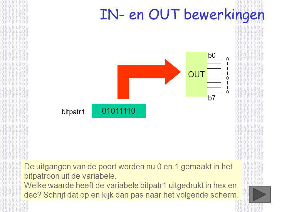 IN- en OUT bewerkingen OUT 01011110