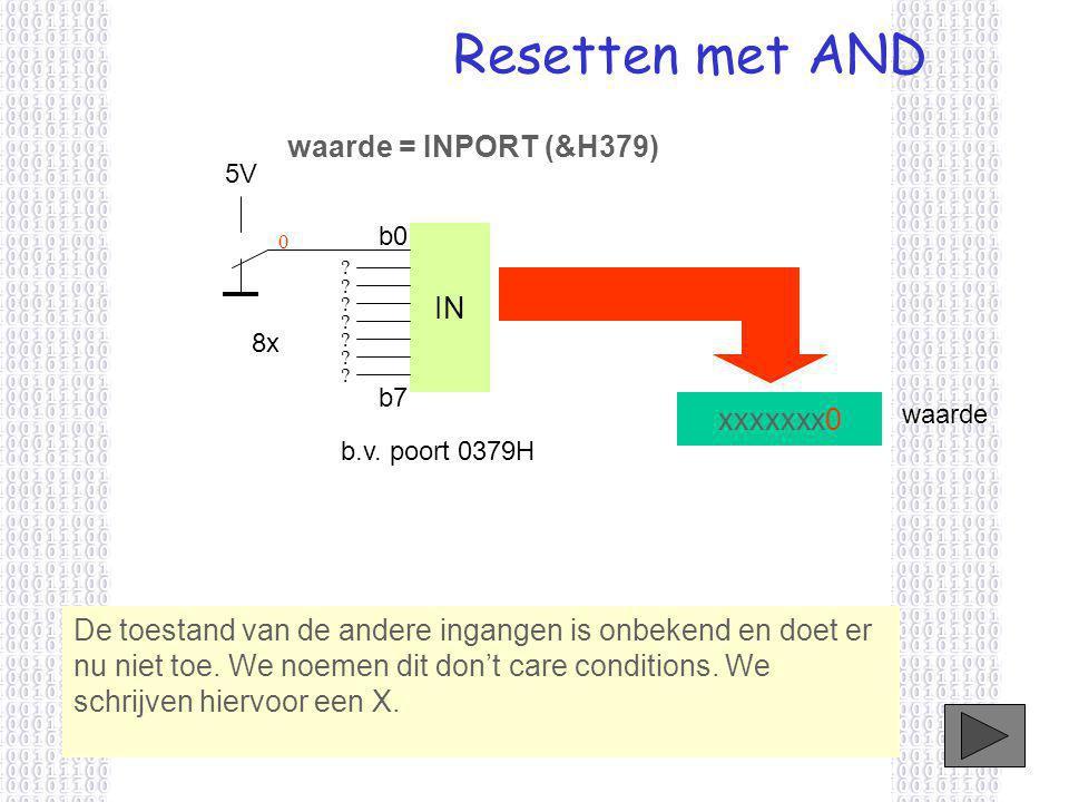 Resetten met AND waarde = INPORT (&H379) IN xxxxxxx0