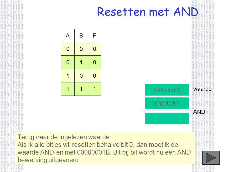 Resetten met AND xxxxxxx0 00000001