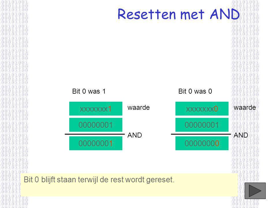 Bit 0 blijft staan terwijl de rest wordt gereset.