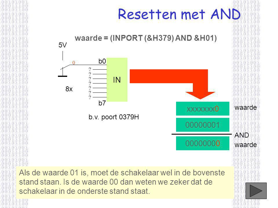 Resetten met AND waarde = (INPORT (&H379) AND &H01) IN xxxxxxx0