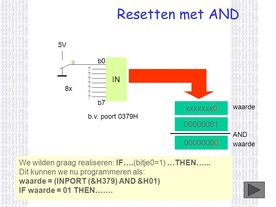 Resetten met AND IN xxxxxxx0 00000001 00000000