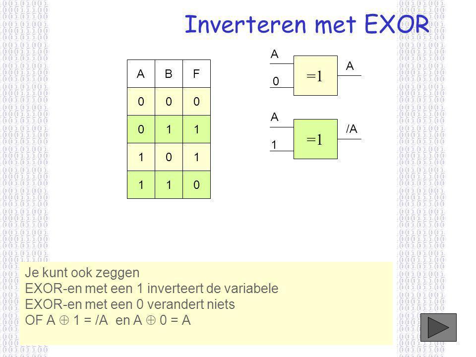 Inverteren met EXOR A. =1. A. A. B. F. A. 1. 1. =1. /A. 1. 1. 1. 1. 1.
