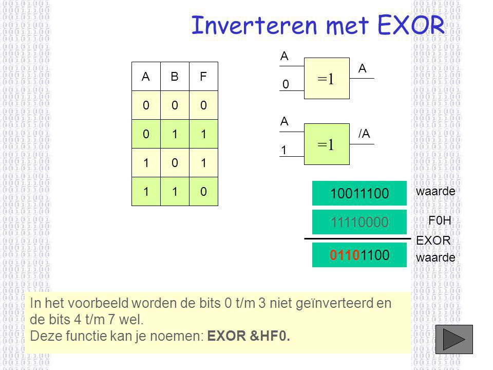 Inverteren met EXOR A. =1. A. A. B. F. A. 1. 1. =1. /A. 1. 1. 1. 1. 1. 10011100. waarde.
