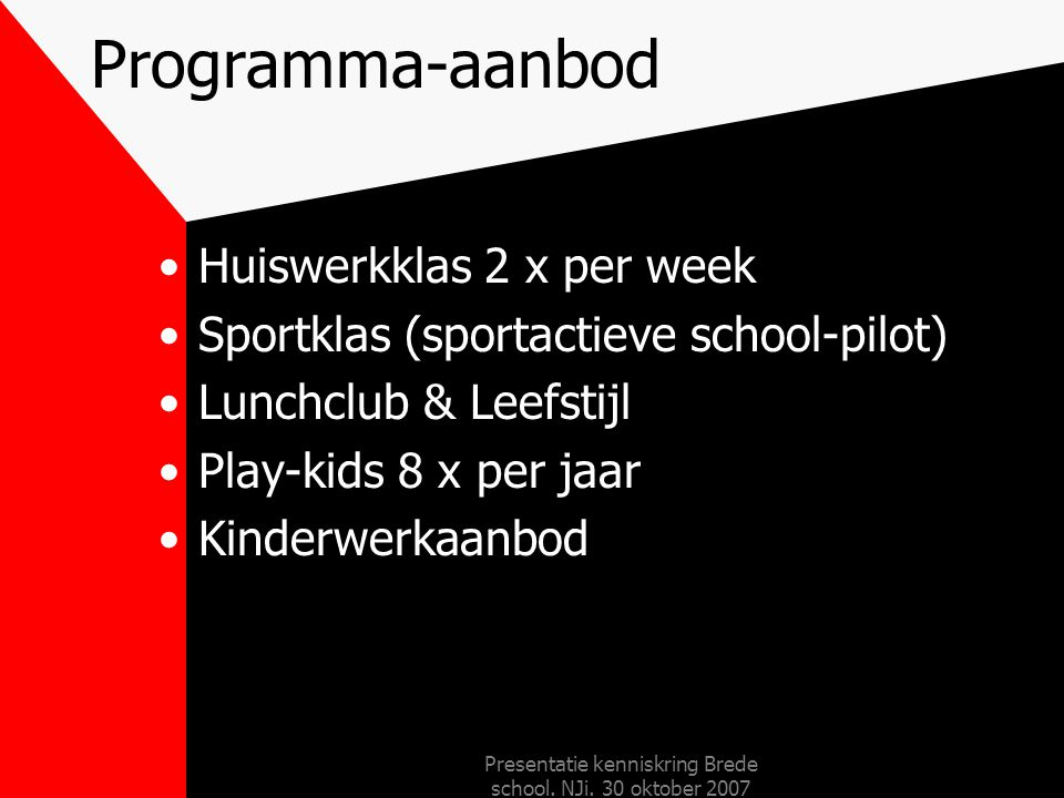 Presentatie kenniskring Brede school. NJi. 30 oktober 2007