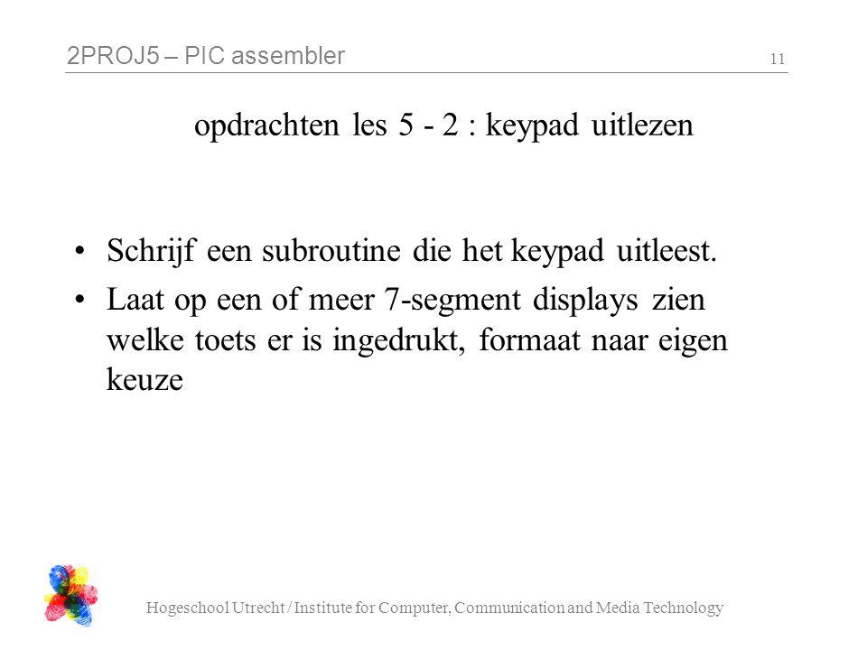 opdrachten les 5 - 2 : keypad uitlezen
