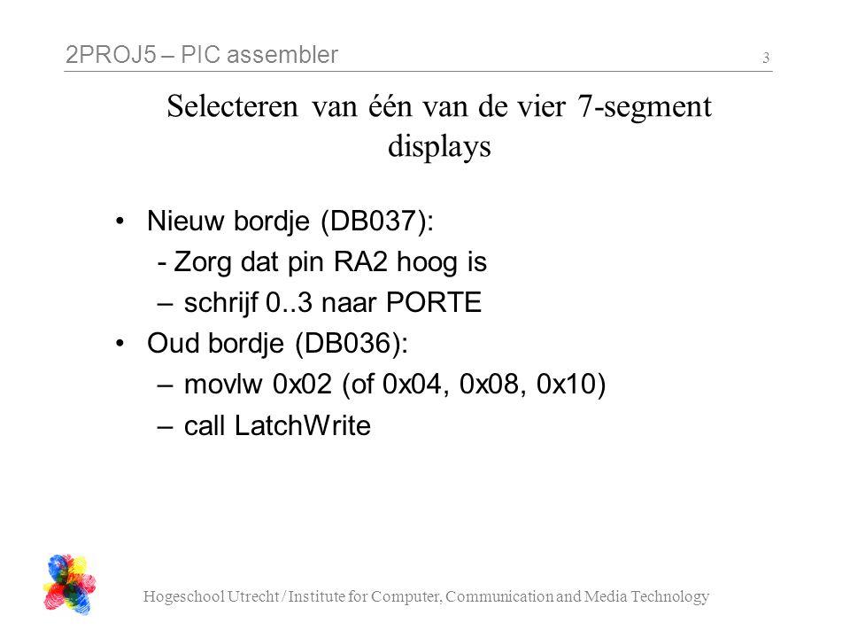 Selecteren van één van de vier 7-segment displays