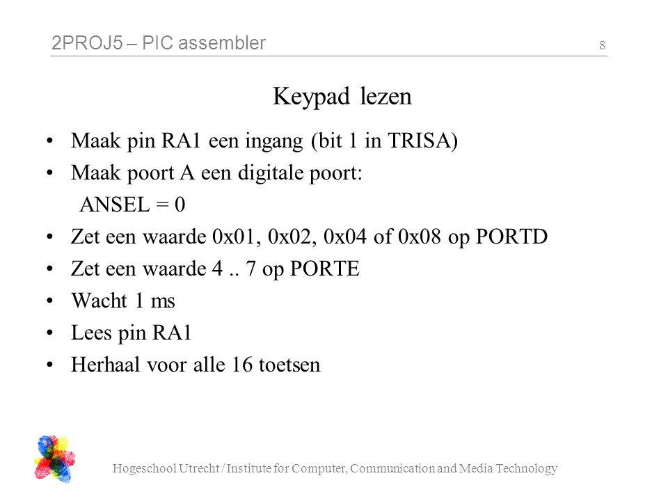 Keypad lezen Maak pin RA1 een ingang (bit 1 in TRISA)